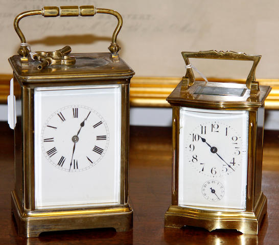 Two brass striking carriage clocks Unsigned 2