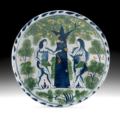A Bristol delftware Adam and Eve charger, circa 1720