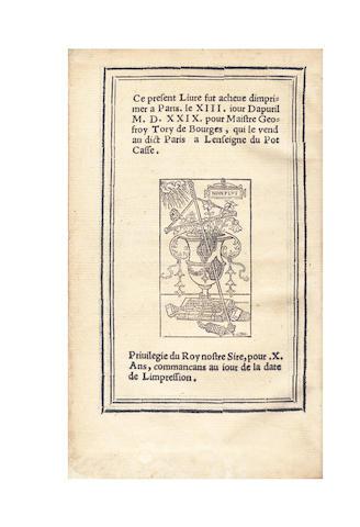 TORY (GEOFFROY) [CIPELLI (GIOVANI)] 'Joannes Engatius'. Summaire de chroniques, contenans les vies, gestes & cas fortuitz de tous les empereurs d'Europe... translate... en langaige Francoys par maistre Geofroy Tory de Bourges