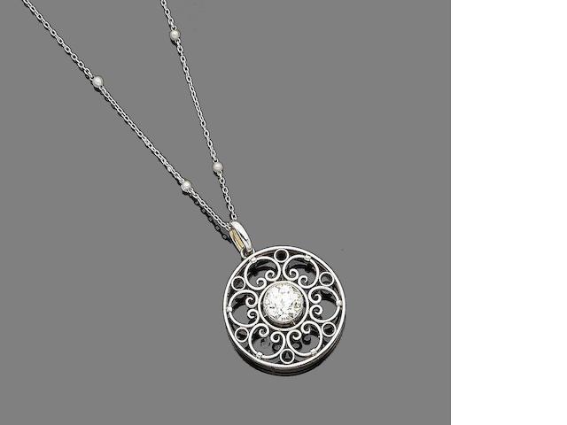 A diamond-set pendant