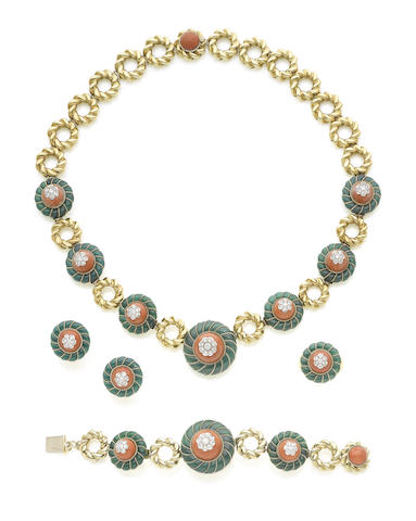 A gold, coral, chrysoprase and diamond necklace, bracelet, earrings and ring suite, by Garrard & Co., (4) (illustrated on the inside back cover)