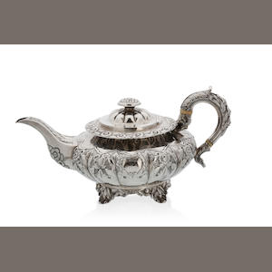 An Irish William IV squat silver teapot by Edward Power and Edward Twycross, Dublin 1834,