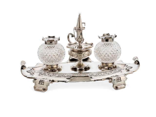 A Victorian silver inkstand by Benjamin Preston, London 1851