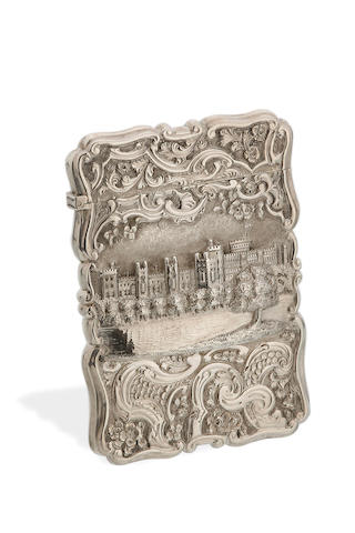 A Victorian silver Windsor Castle top card case by Nathaniel Mills, Birmingham 1851