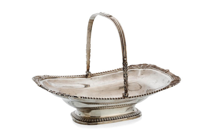 A George III silver oblong swing handle bread basket by Rebecca Emes and Edward Barnard, London 1813