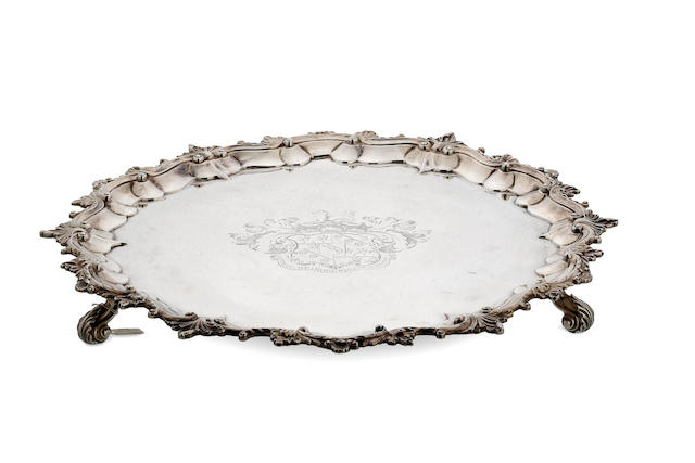 A large George IV shaped circular salver  by William Eley II, London 1828