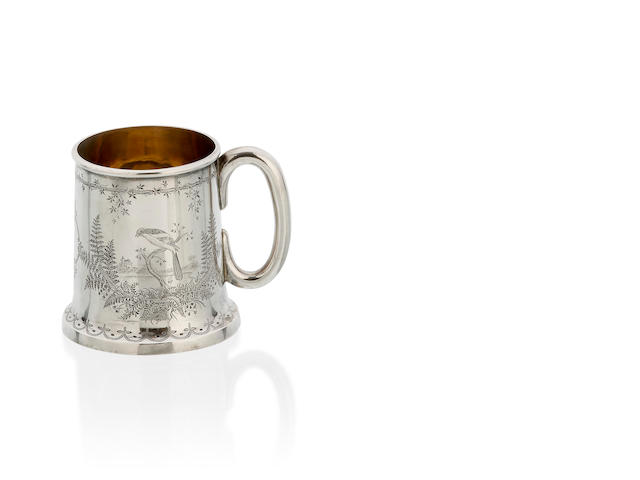 A Scottish Victorian silver christening mug by William Mortimer, Edinburgh 1875