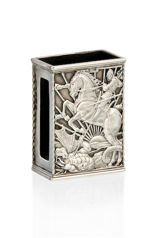 A George V silver match box holder  by Omar Ramsden, London 1935