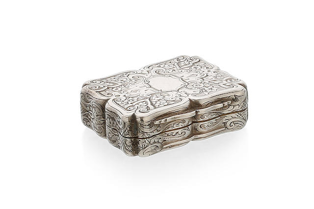 A Victorian silver rectangular vinaigrette by Charles Rawlings & William Summers, London 1853.