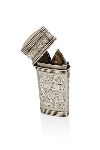 A Victorian silver etui by Henry Comoy, London, 1848.