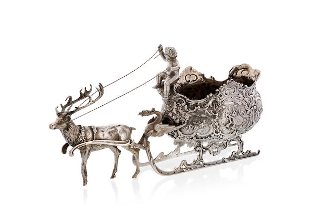 A 19th century German  silver sleigh comport import marks for 1899, by William Moering