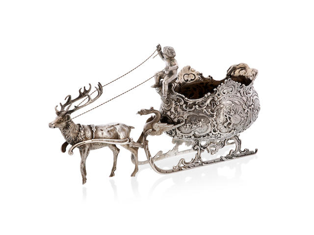 A 19th century German silver sleigh comport