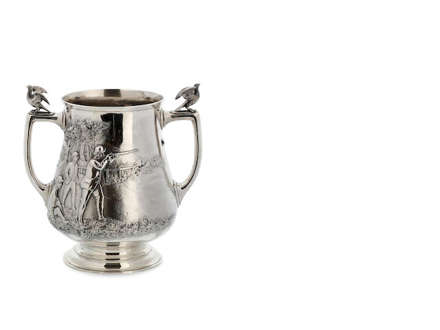A Victorian silver two-handled hunting trophy, by John Barclay Hennell, London, 1885.