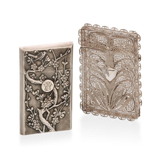 A Chinese export silver card case possibly by Woshing Kiangse Road, Shanghai, circa 1900  (3)