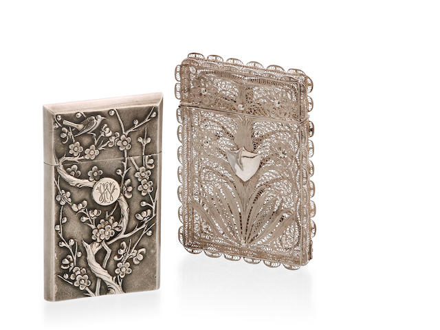 A Chinese Export silver card case, possible by Woshing Kiangse Road, Shanghai, circa 1900