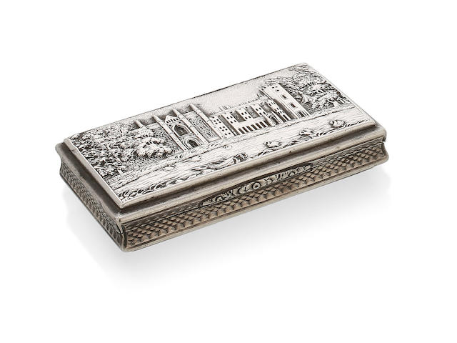A George IV silver Newstead Abbey castle top rectangular snuff box by Nathaniel Hills, Birmingham 1827,