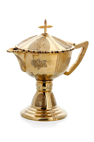 A Australian silver gilt ecclesiastical ewer by James Steeth & Son, Melbourne, early 20th Century