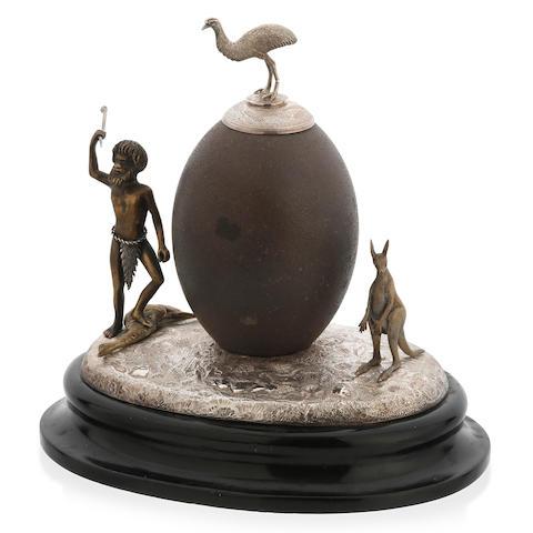 An Australian silver mounted emu egg by Jochim Matthias Wendt, Adelaide, circa 1875