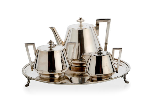 An Australian silver batchelor three piece tea set and circular salver by August Ludwig Brunckhorst, Adelaide, circa 1890,