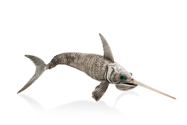 A German silver neticulated figure of a marlin