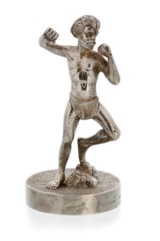 An Australian silver cast figure of an Indigenous hunter, by William Drummond & Co, Melbourne, late 19th century