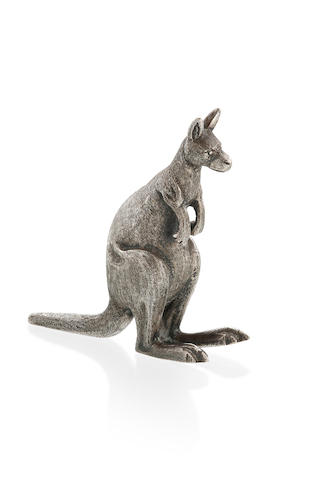 An Australian  cast silver figure of a standing kangaroo  by Kilpatrick & Co, Melbourne, circa 1910