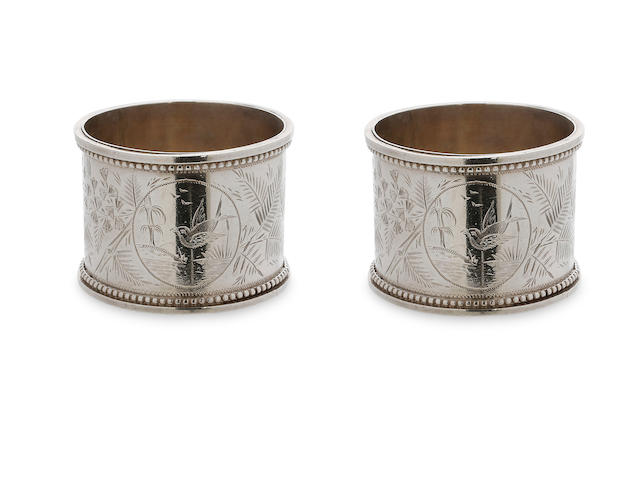 An Australian pair of silver napkin rings by Edward Schafer, Melbourne, circa 1880
