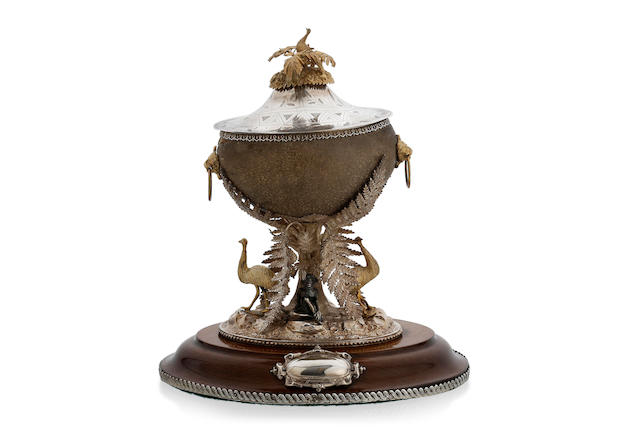 "An Australian  silver and gilt  mounted emu egg inkstand by William Edwards, Melbourne, circa 1870, retailed by N. Salomon, Dunedin, New Zealand ""N.SALOMON/DUNEDIN"""