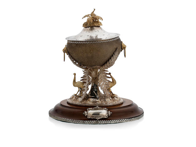 An Australian silver and gilt mounted emu egg inkstand, by William Edwards, Melbourne, circa 1870, retailed by N. Salomon, Dunedin, New Zealand