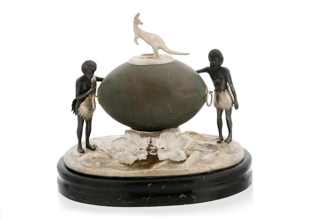 An Australian silver mounted emu egg, late 19th century