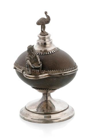 An Australian silver plate mounted emu egg inkstand, circa 1890