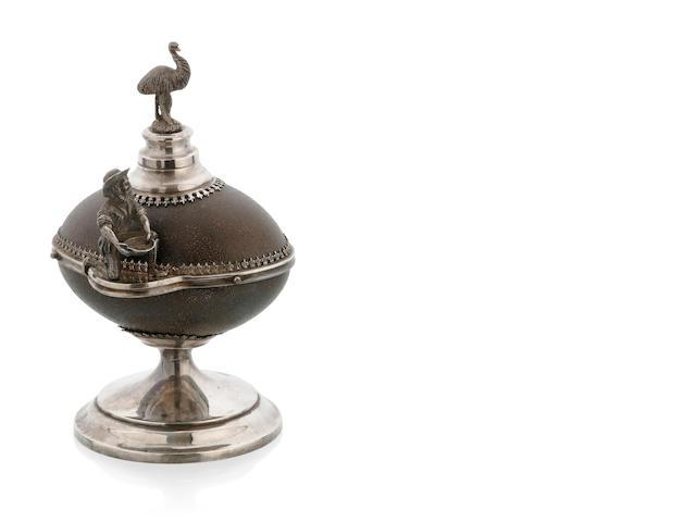 An Australian silver plate mounted emu egg inkwell, circa 1890
