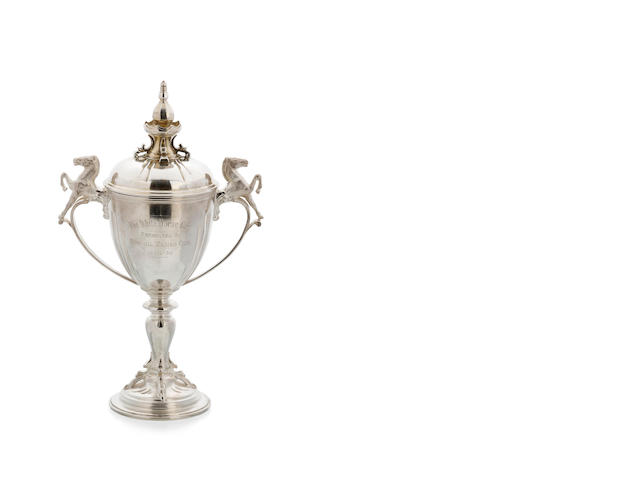'The White Horse Cup', an Australian silver two-handle lidded trophy, by Hardy Brothers Sydney, circa 1939
