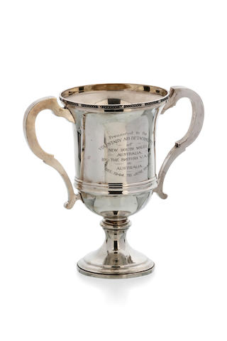 An Australian silver two-handled cup by William J. Sanders, Sydney, circa 1940