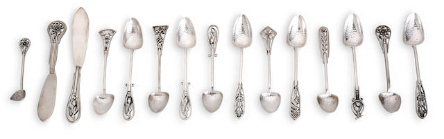 An Australian silver set of twelve floral tea spoons by James A. Linton, Perth