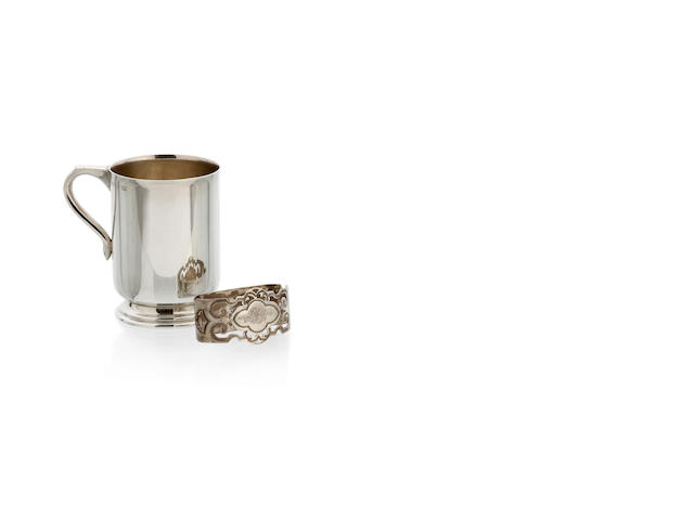 An Australian silver mug (9 cm high) and a previced napkin ring by Stokes & Son, Melbourne, circa 1950
