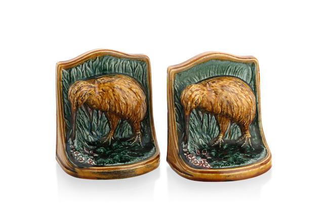 A pair of glazed earthenware Kiwi bookends by Alexander Murray (1863-1938), circa 1925