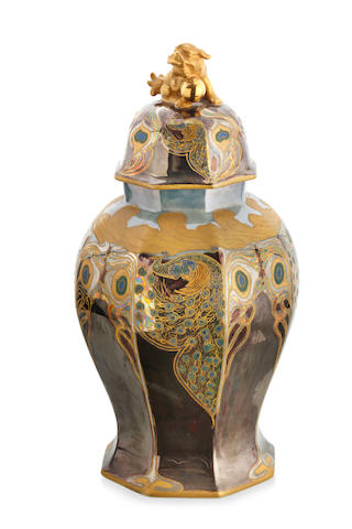A large octagonal ginger jar and cover, by Marnie Venner (1882-1974)