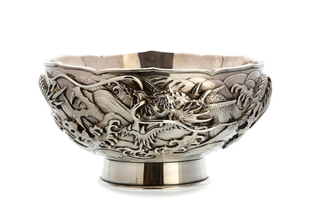 A Japanese silver bowl, marked Pure Silver, early 20th century
