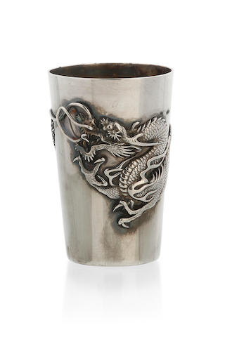 Two Chinese Export silver beakers, both decorated with scrolling dragons, 5 & 8.5cm high