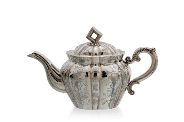 A Chinese Export silver tea pot