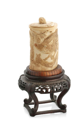A Chinese ivory box trunk carving and cover