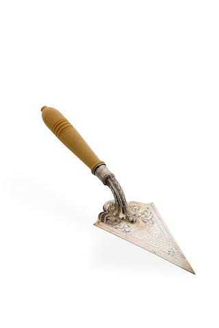 An Australian silver  presentation trowel with carved ivory handle, circa 1927