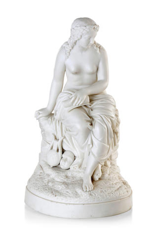 A Victorian Parian porcelain figure of a seated semi-clad maiden