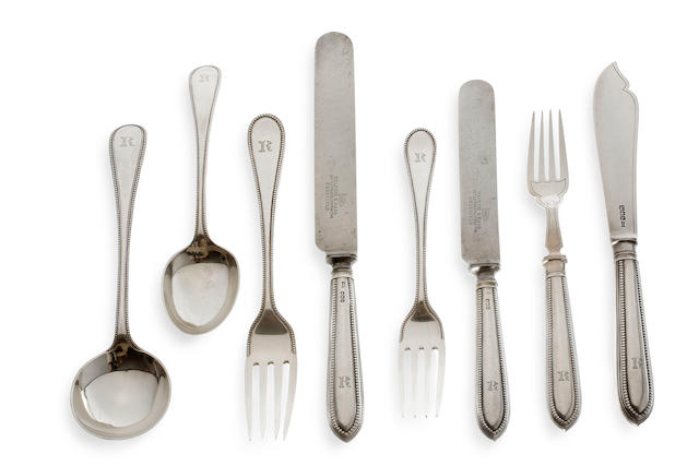An Edward VII silver bead pattern canteen of cutlery for six, Sheffield 1919 by Walker & Hall  (50)