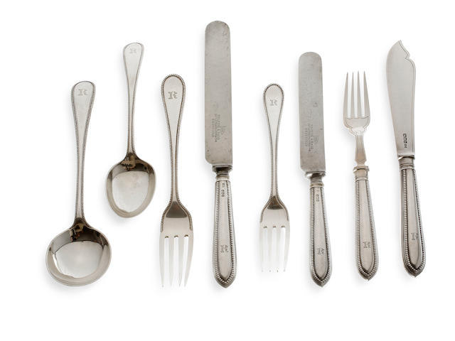 An Edward VII silver bead pattern canteen of cutlery for six, by Walker & Hall, Sheffield 1919  (50)