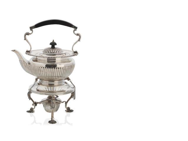 An Edward VII silver tea kettle, stand and burner by Barker Brothers, Chesten, 1917
