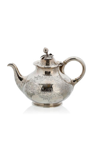 A Victorian silver  ovoid teapot  by James and Nathaniel Creswick, London 1852