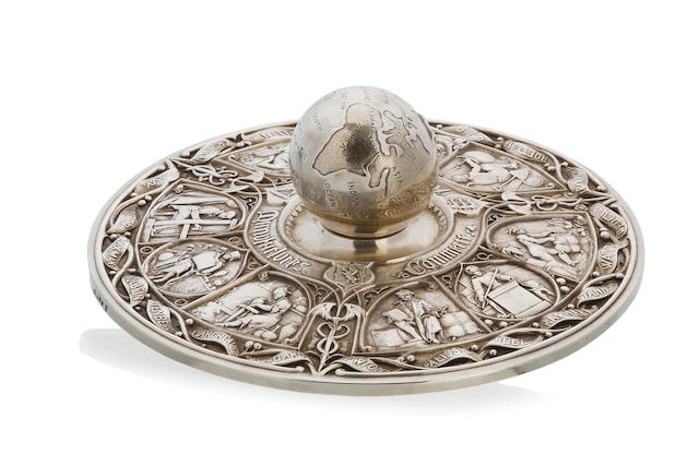 A Victorian electrotype silver plate Great Exhibition Inkstand by Elkington & Co 1859