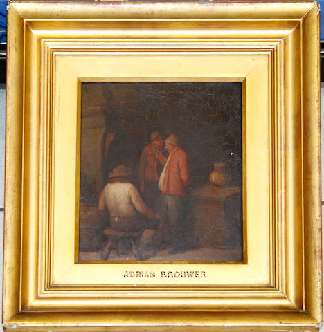 Manner of Adriaen Brouwer, 19th Century Peasants in an interior